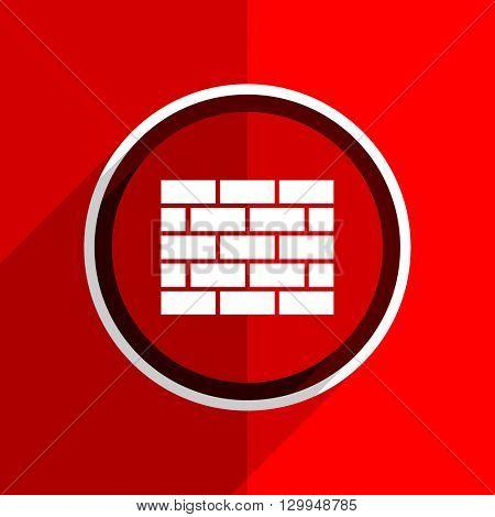 red flat design firewall web modern icon