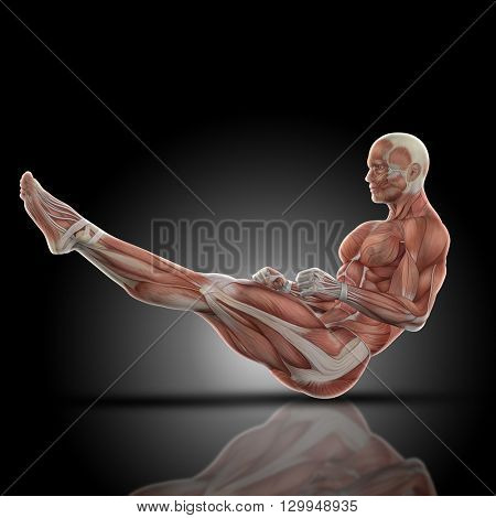3D render of a medical figure bodybuilder with muscle map in a sit up pose with legs extended