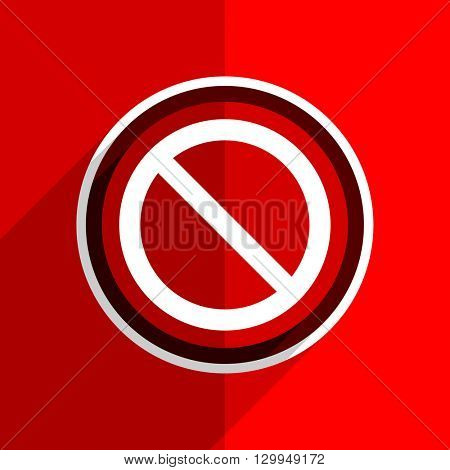 red flat design access denied web modern icon