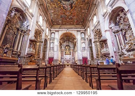 Santarem, Portugal. September 10, 2015: Interior of the Santarem See Cathedral aka Nossa Senhora da Conceicao Church built in the 17th century Mannerist style.