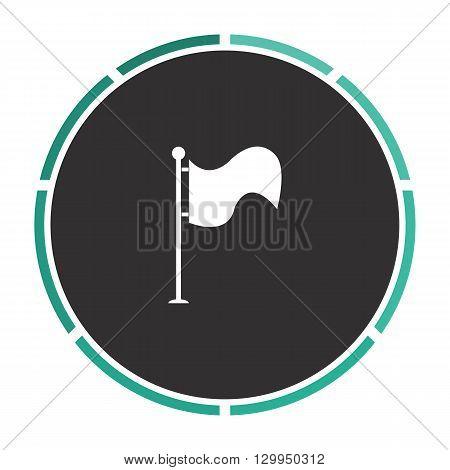 Waving Flag Simple flat white vector pictogram on black circle. Illustration icon