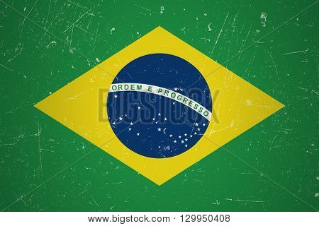Brazilian flag with grunge texture.Vector Brazilian flag.