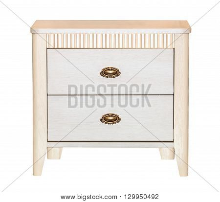 White retro chest of drawers isolated on white background