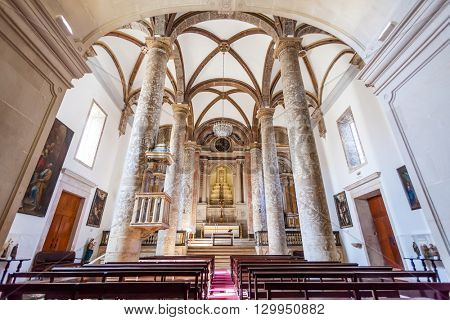 Santarem, Portugal. September 11, 2015:  Misericordia church Nave. 16th century Hall-Church in late Renaissance Architecture.
