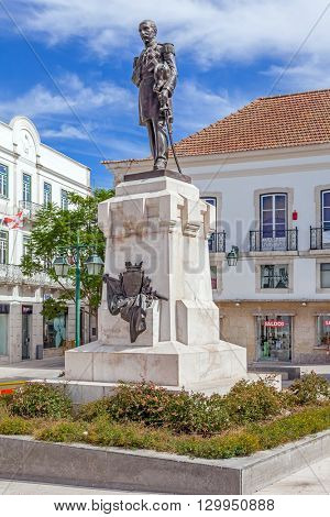 Santarem, Portugal. September 11, 2015:  Statue of the Sa da Bandeira Viscount, placed in the centre of Sa da Bandeira Square