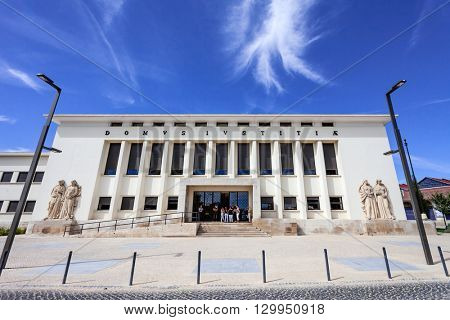 Santarem, Portugal. September 11, 2015:  Palacio da Justica (Palace of Justice), the Tribunal of the city of Santarem.