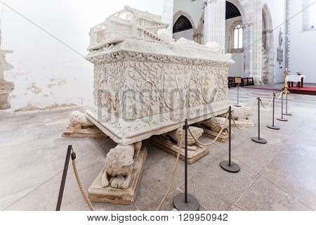 Santarem, Portugal. September 11, 2015: Gothic Tomb of Dom Pedro de Menezes and wife Dona Beatriz Coutinho. Santo Agostinho da Graca church. 14th and 15th century Mendicant and Flamboyant Gothic.