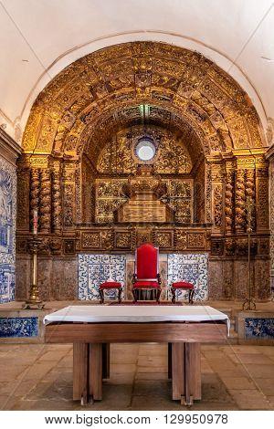 Sesimbra, Portugal. December 08, 2015: Baroque altar of the church of the Sesimbra Castle, Portugal