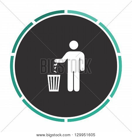 Bin Simple flat white vector pictogram on black circle. Illustration icon