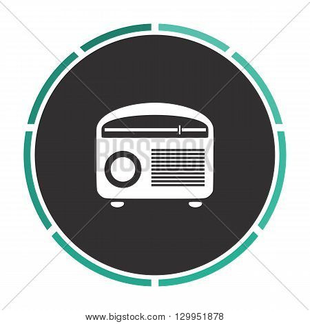 retro radio Simple flat white vector pictogram on black circle. Illustration icon