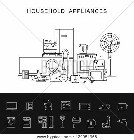 Household appliance banner with vector line icons microwave, coffee machine, washing machine, etc.