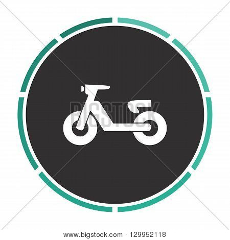 Scooter Simple flat white vector pictogram on black circle. Illustration icon