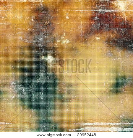 Highly detailed scratched texture, aged grungy background. Vintage style composition with different color patterns: yellow (beige); brown; red (orange); green; gray