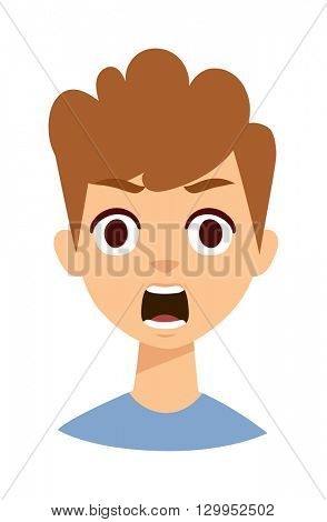 surprised boy vector illustration.