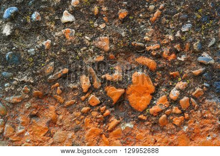 Dirty Grey Concrete Wall With Blue Colored Stones 14