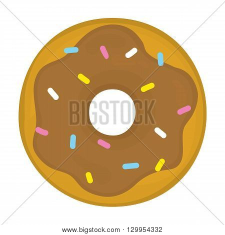 Chocolate glazed cartoon donut cartoon vector illustration