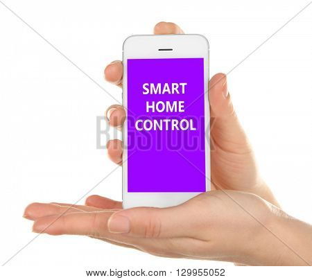 Smart home app installing on phone in hands. Smart home control concept.