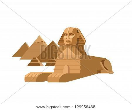 High quality, detailed most famous World landmark. Sphinx and pyramids background. Travel vector. Travel illustration. Travel landmarks. Happy travel