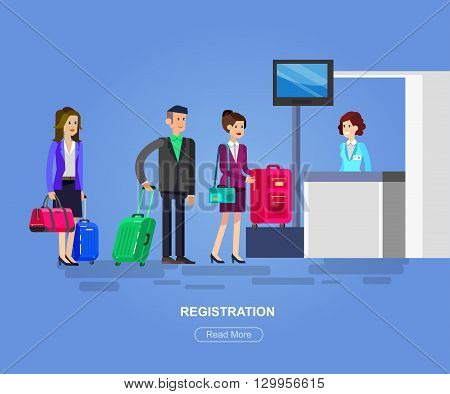 Vector detailed characters people in airport lounge. Woman is registered, people baggage claim, flat  illustration