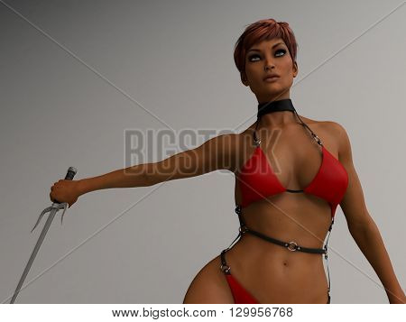 3d illustration of athletic young woman wearing red bikini holding sai