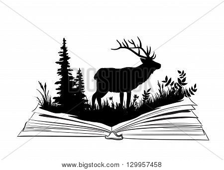 Deer silhouettein the open book, nature exploration illustration