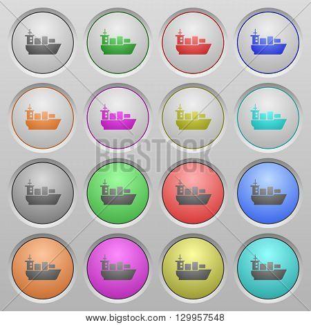Set of Sea transport plastic sunk spherical buttons.