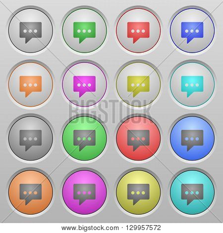 Set of working chat plastic sunk spherical buttons.