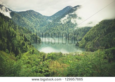 Mountains landscape with a lake view. Caucasus. Abkhazia. Lake Ritza