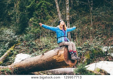 Cheerful Woman Traveler On Vacation Camping Summer Vacations Outdoor. Forest In The Highlands. Hikin