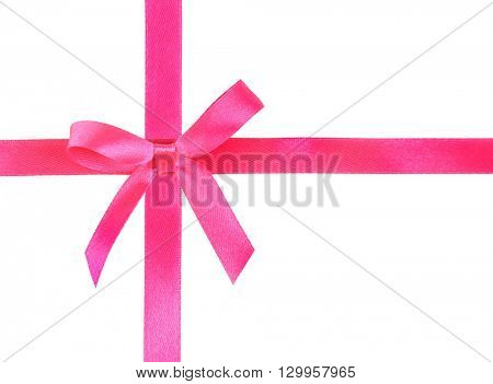 Pink ribbons and bow, isolated on white