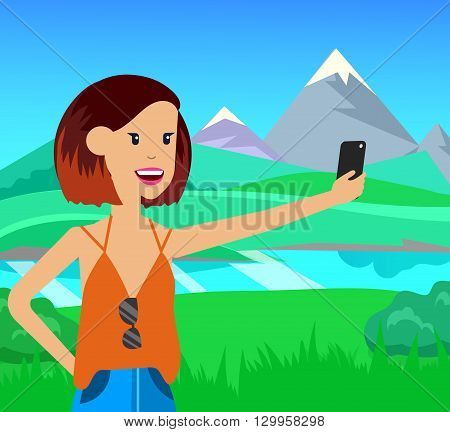 Healthy way of life. Sport monopod selfie in park. Exercise and run, active woman character, vector illustration