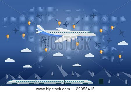 Flat plane and train. Flat vector web banner on the theme of travel by train and airplane vacation adventure. The plane on a background map of the world. Tags travel on the world map.