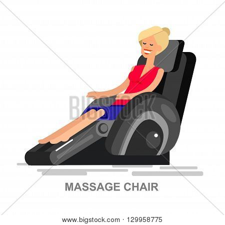 Vector detailed character Woman buy massager  and relax in massage chair, cool flat  illustration isolated on white background.