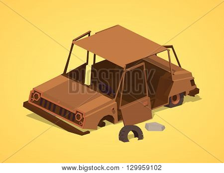 Old rusty car against the yellow background. 3D lowpoly isometric vector illustration