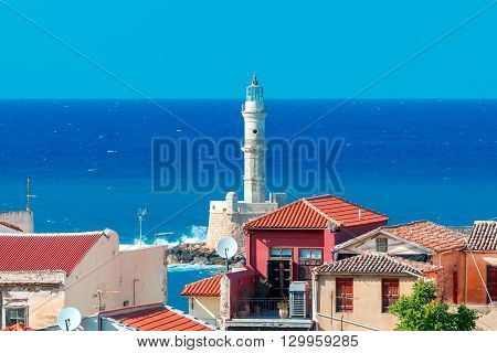 Chania. Aerial view from the hill Schiavo of the old city and the lighthouse.