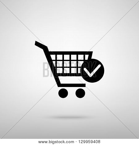 Shopping Cart and Check Mark Icon. Black with shadow on gray.