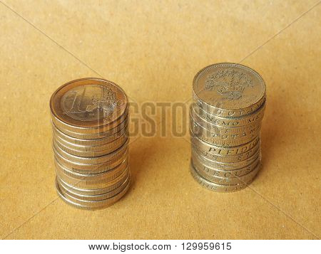 Euro And Pound Coins Pile