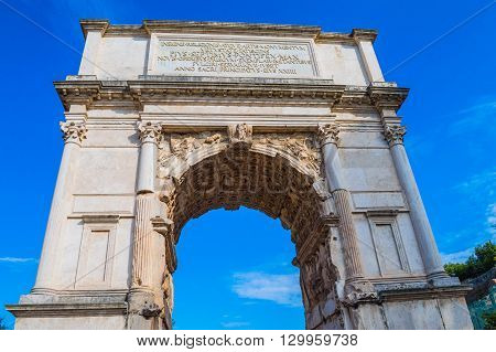 Arch of Titus. Entrance to the Roman Forum. The oldest triumphal arch in Rome
