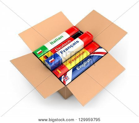 3d box with language books isolated white background
