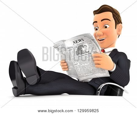 3d businessman reading newspaper with feet on desk isolated white background
