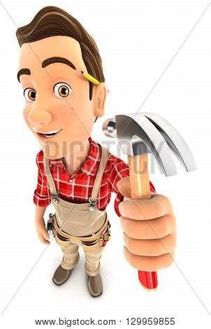 3d handyman holding a claw hammer illustration with isolated white background
