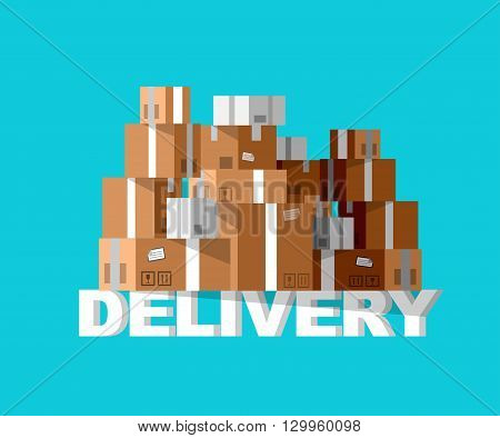 Delivery box. Vector Delivery. Delivery detailed illustration box. Delivery fast to the door and box. Delivery vector illustration box