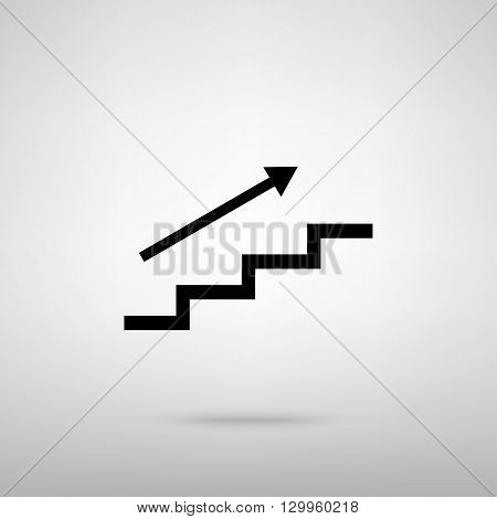 Stair with arrow. Black with shadow on gray.