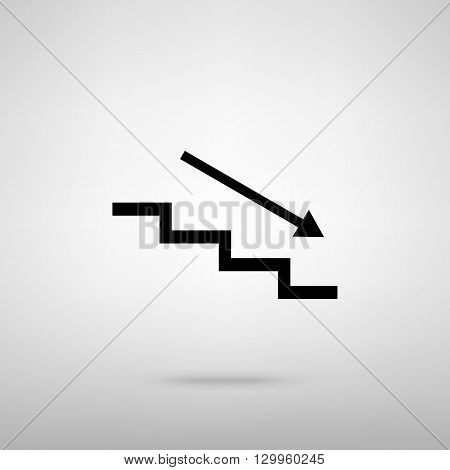 Stair down with arrow. Black with shadow on gray.