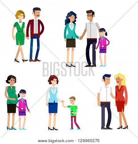 Detailed character people family, parents with kids, couple, family with children, gay family. Vector family character. Illustration family people isolated on white background