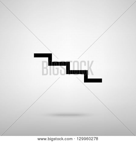 Stair down sign. Black with shadow on gray.