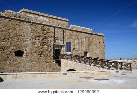 Medieval fort at the harbour in Paphos Cyprus island country in Eastern Mediterranean Sea, unesco heritage