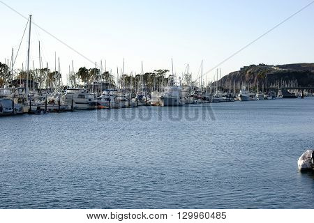 A sailboat harbor with a large number of sailing boats in the marina Dana Point at the pacific.