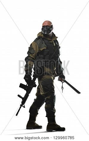 Military war conflict soldiers - Special forces soldier man hold Machine gun on a white background