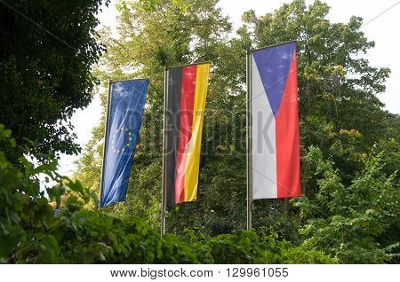 german czech and european flag at the czech honorary consulate in dortmund one of the six in germany